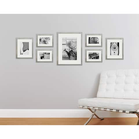 7 Piece Greywash Photo Frame Wall Gallery Kit with Decorative Art Prints & Hanging Template