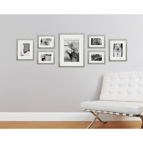 Shop 7 Piece Greywash Photo Frame Wall Gallery Kit with Decorative ...
