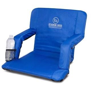 Stadium Boss Recliner Stadium Seat for Bleachers, Benches, Lawns, Backyard, Camping & Beach - 6 Reclining Positions - Blue