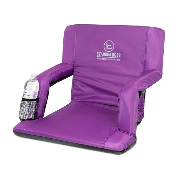 Stadium Boss Recliner Stadium Seat for Bleachers, Benches, Lawns, Backyard, Camping & Beach - 6 Reclining Positions - Purple