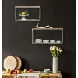 Rustic Galvanized Metal and Wood Wall Shelf, Set of 2
