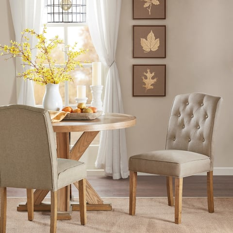"""Madison Park Misha Taupe Tufted Dining Chair (Set of 2) - 19.75""""w x 25.25""""d x 37.5""""h"""
