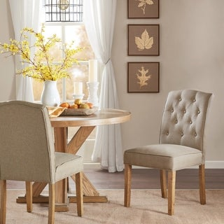 Madison Park Misha Taupe Tufted Dining Chair (Set of 2)