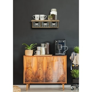 Reclaimed Wood Wall Organizer with 3 Metal Basket Bins