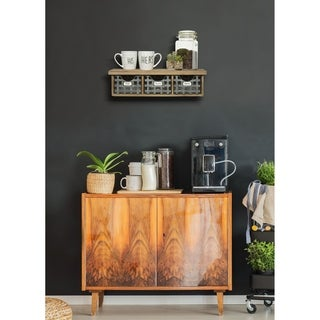 Reclaimed Wood Wall Organizer with 3 Metal Basket Bins
