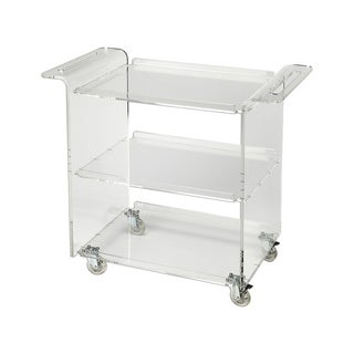 Offex Modern Rectangular Trolley Server Clear Acrylic - Clear
