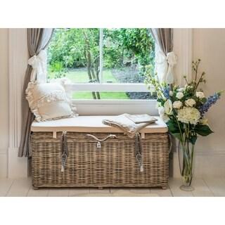Key Largo Kubu Rattan Flip Top Storage Bench With Cushion