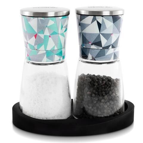 Epare Salt and Pepper Mill Set - Adjustable Ceramic Grinder with Stand