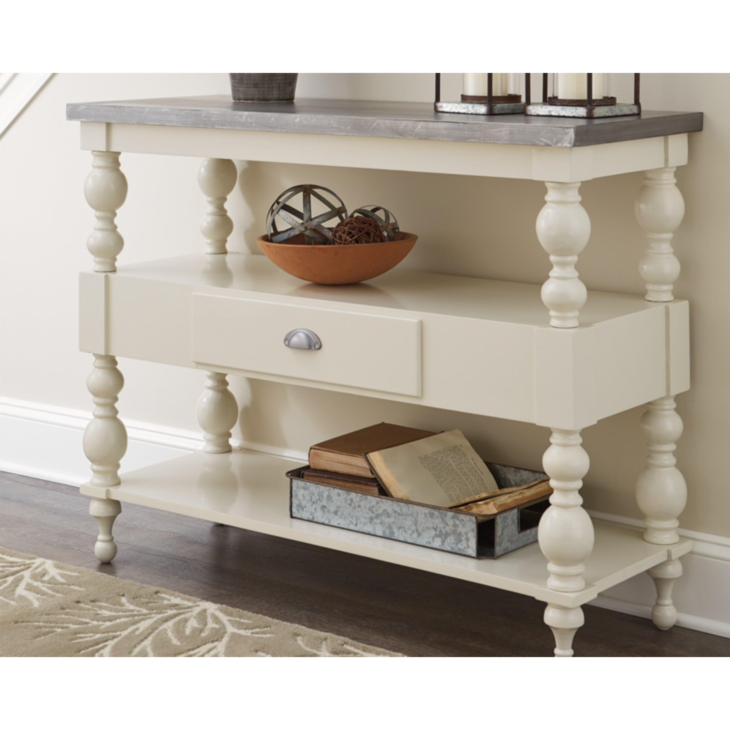 Outstanding Signature Design By Ashley Fossil Ridge White Antique Grey Sofa Table Spiritservingveterans Wood Chair Design Ideas Spiritservingveteransorg