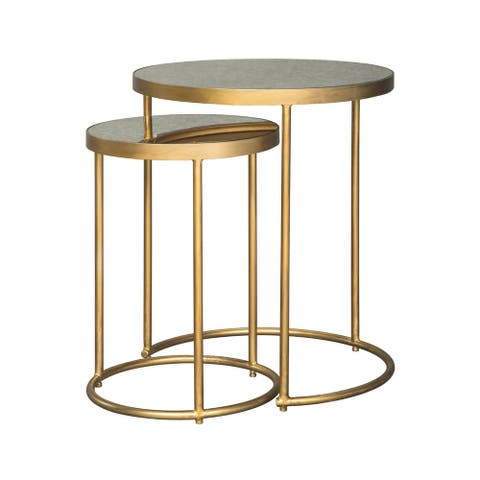 Majaci Goldtone Contemporary Nesting Tables, Set of 2