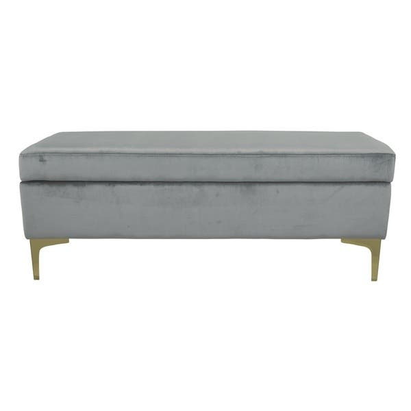 Swell Shop Bachwich Gray Velvet Storage Bench Free Shipping Machost Co Dining Chair Design Ideas Machostcouk
