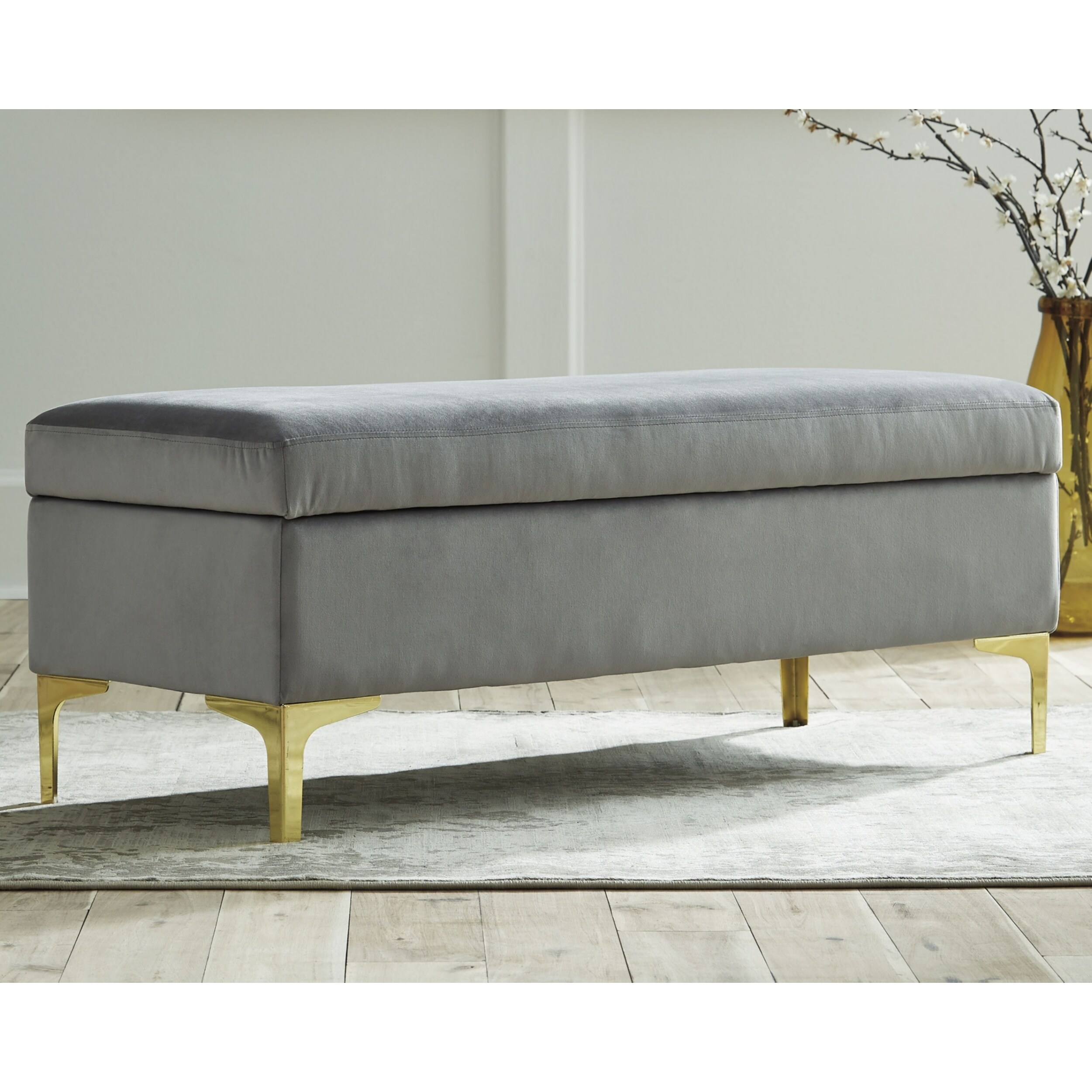 Bachwich Gray Velvet Storage Bench