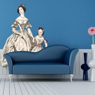 """Lady Girl Dress Full Color Wall Decal Sticker K-498 FRST Size 46""""x56"""""""