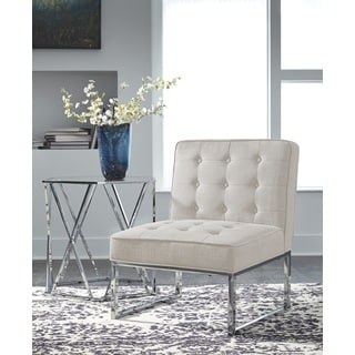 Cimarosse Contemporary Ivory Accent Chair with Chrome Toned Metal Legs