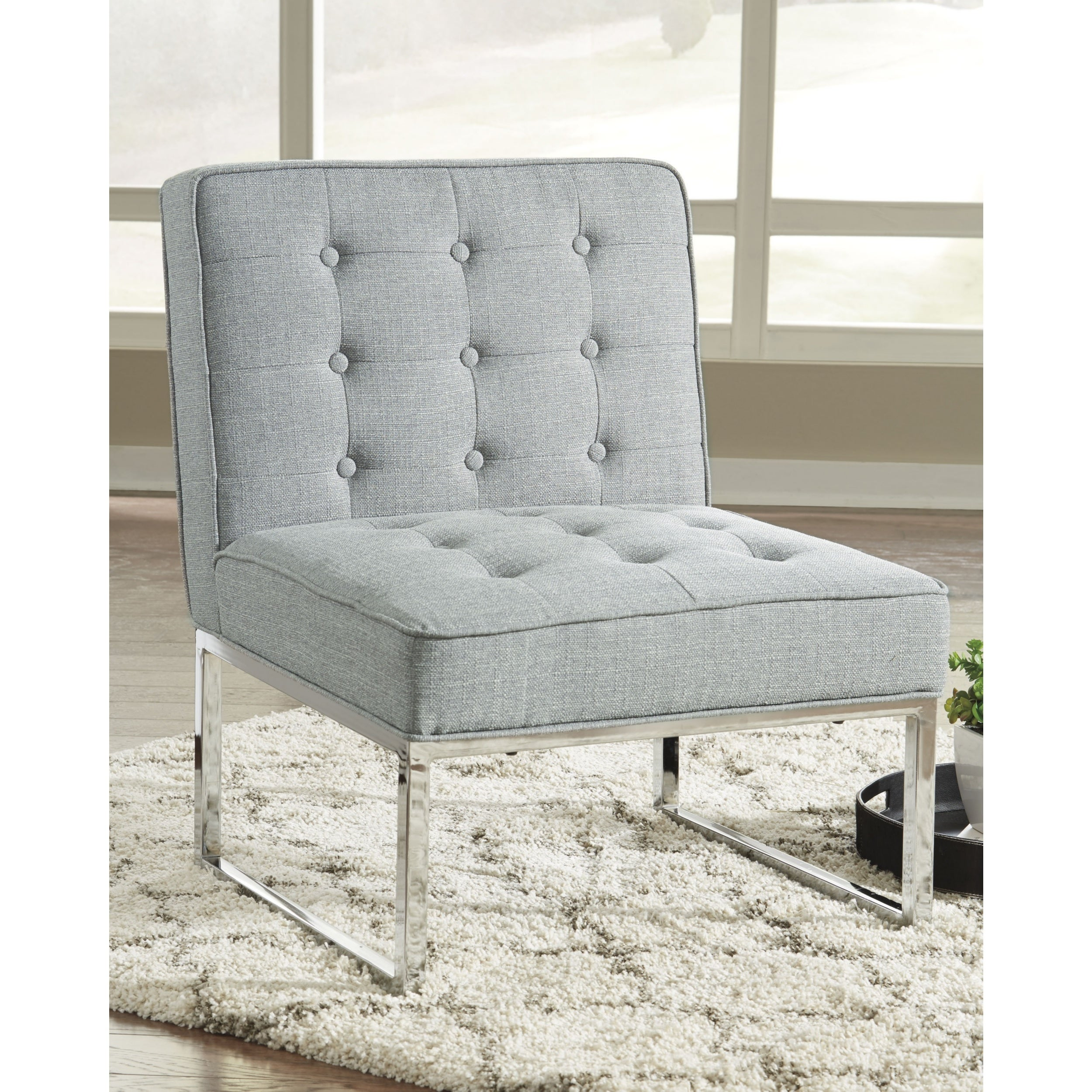 Terrific Cimarosse Contemporary Gray Accent Chair With Chrome Toned Metal Legs Andrewgaddart Wooden Chair Designs For Living Room Andrewgaddartcom