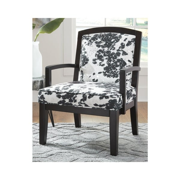 Signature Design By Ashley Treven Black White Upholstered Wood Accent Chair