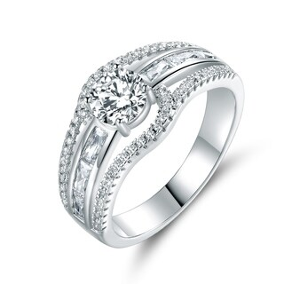 White Gold Plated Cubic Zirconia Engagement Ring (More options available)