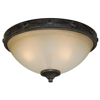 Halifax 14.5-in W Bronze Rustic Flush Mount Ceiling Light Fixture - 14.5-in W x 7-in H x 14.5-in D