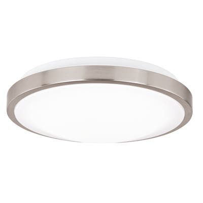 """Vaxcel Aries 12"""" Round LED Flush Mount Satin Nickel - 11.75-in W x 3.75-in H x 11.75-in D"""