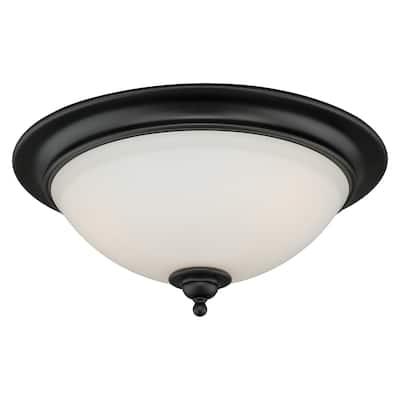 Grafton 16.25-in W Bronze Flush Mount Ceiling Light Fixture White Glass - 16.25-in W x 7-in H x 16.25-in D