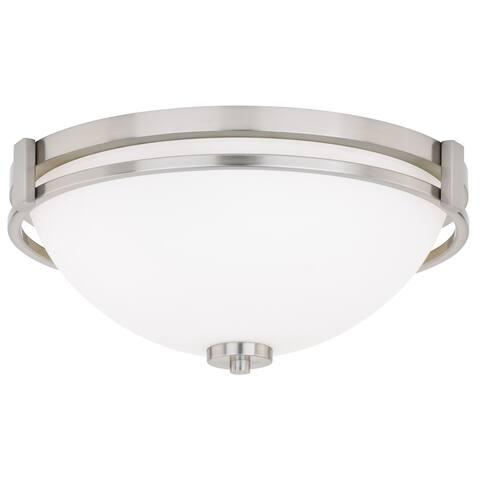 Metropolis 15-in W Satin Nickel Flush Mount Ceiling Light Fixture White Glass - 15-in W x 6.25-in H x 15-in D