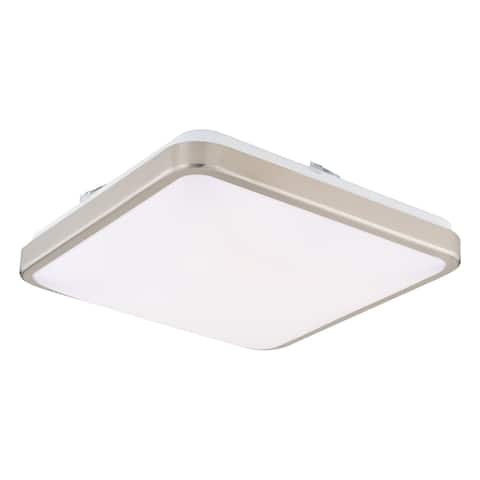 Aries 14-in W LED Satin Nickel Flush Mount Ceiling Light Fixture White Shade - 14-in W x 4-in H x 14-in D