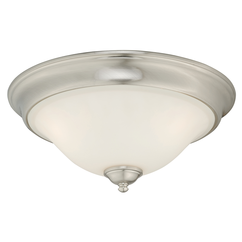 Shop Belleville 15 5 In W Satin Nickel Flush Mount Ceiling Light Fixture White Glass 15 5 In W X 6 5 In H X 15 5 In D Overstock 20906759