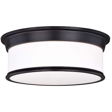 Carlisle 16-in W Bronze Flush Mount Ceiling Light Fixture White Glass - 16-in W x 5.75-in H x 16-in D