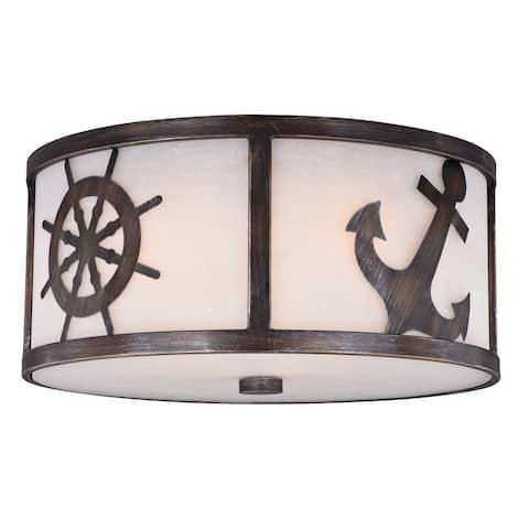 Nautique 17-in W Bronze Coastal Flush Mount Ceiling Light Fixture White Glass - 17-in W x 8-in H x 17-in D