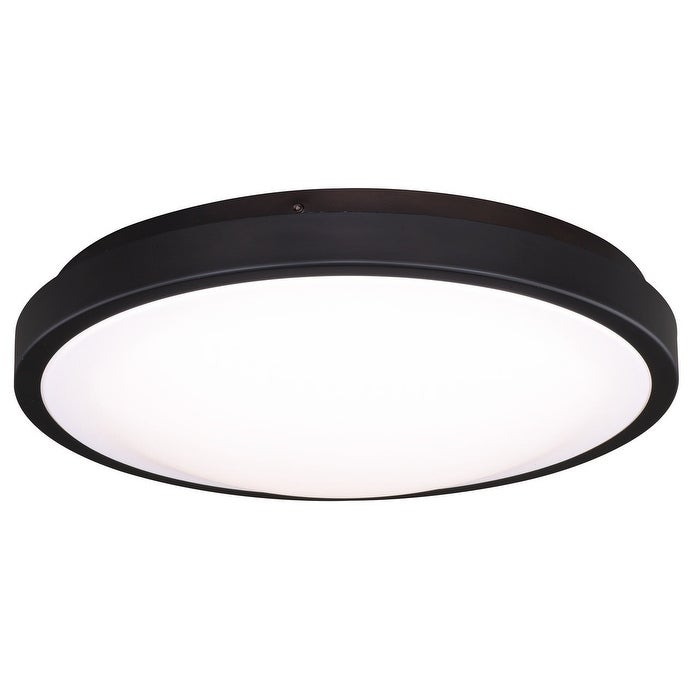 Shop Aries 13 75 In W Led Bronze Flush Mount Ceiling Light Fixture White Shade 13 75 In W X 3 75 In H X 13 75 In D Overstock 20906773