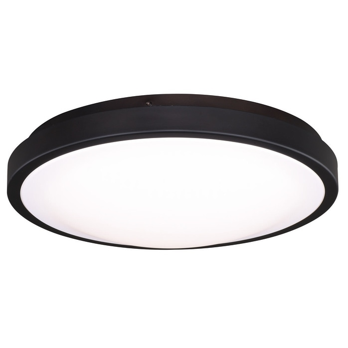 Aries 13 75 In W Led Bronze Flush Mount Ceiling Light Fixture White Shade 13 75 In W X 3 75 In H X 13 75 In D Overstock 20906773