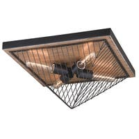 "Vaxcel Dearborn 16"" Flush Mount Burnished Oak/Black Iron"