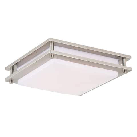 Horizon 12-in W LED Square Satin Nickel Mission Flush Mount Ceiling Light - 12-in W x 3.5-in H x 12-in D