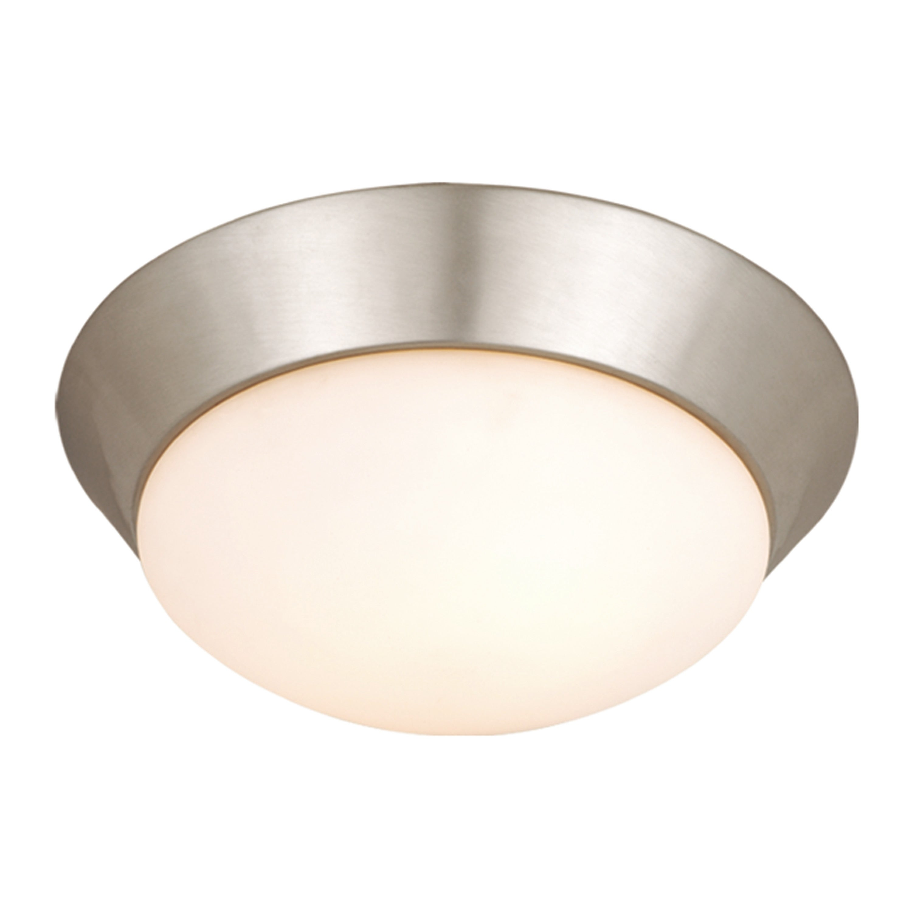Tertial 14 In W Brushed Nickel Flush Mount Ceiling Light Fixture White Glass 14 In W X 4 75 In H X 14 In D Overstock 20906780