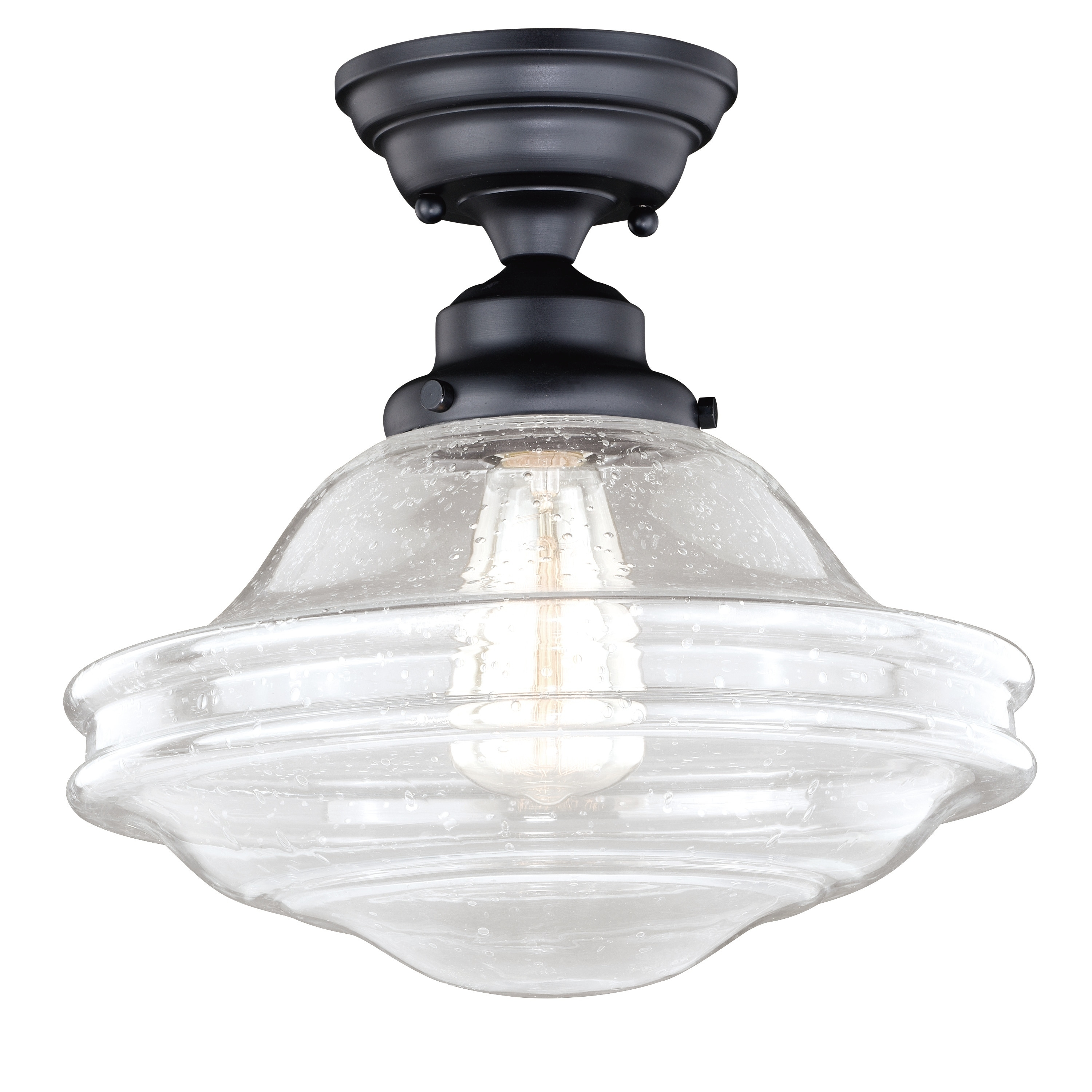 Huntley Oil Rubbed Bronze Farmhouse Semi Flush Mount Ceiling Light With Clear Glass 12 In W X 11 75 In H X 12 In D Overstock 20906782