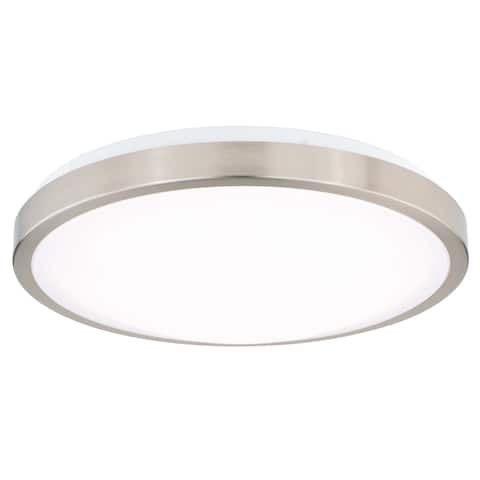 Aries 13.75-in W LED Satin Nickel Flush Mount Ceiling Light Fixture White Shade - 13.75-in W x 3.75-in H x 13.75-in D