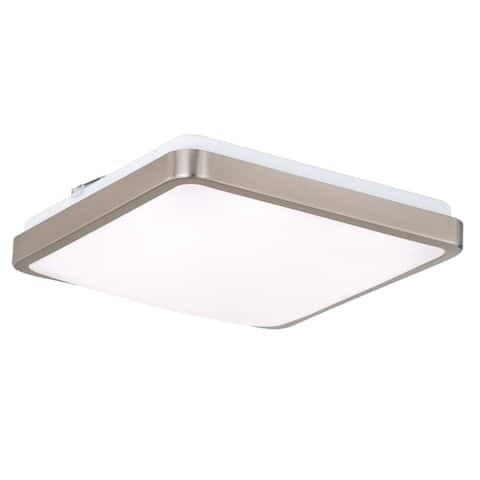 """Vaxcel Aries 11"""" Square LED Flush Mount Satin Nickel - 11-in W x 3.25-in H x 11-in D"""