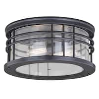 "Vaxcel Wrightwood 12"" Outdoor Flush Mount Vintage Black"