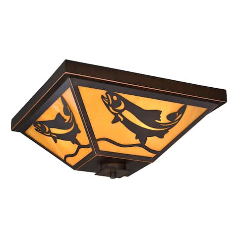 Missoula Bronze Rustic Fish Outdoor Flush Mount Ceiling Light Honey Glass - 14-in W x 6.25-in H x 14-in D
