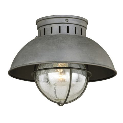Harwich Gray Coastal Barn Dome Outdoor Flush Mount Ceiling Light Clear Glass - 10-in W x 7.75-in H x 10-in D