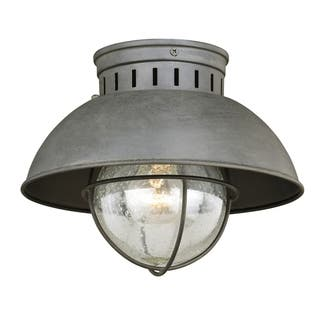 Harwich Coastal Farmhouse Barn Grey Flush Mount Ceiling Light - 10-in W x 7.75-in H x 10-in D