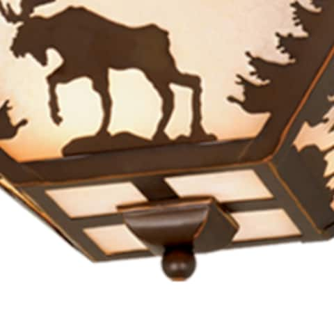 Yellowstone Bronze Rustic Moose Tree Square Outdoor Flush Mount Ceiling Light - 14-in W x 5.75-in H x 14-in D