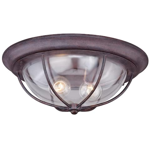Dockside Bronze Coastal Round Outdoor Flush Mount Ceiling Light Clear Glass - 15-in W x 5.75-in H x 15-in D