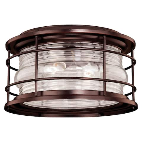 Hyannis Bronze Coastal Round Outdoor Flush Mount Ceiling Light Clear Glass - 12.63-in W x 7.5-in H x 12.63-in D