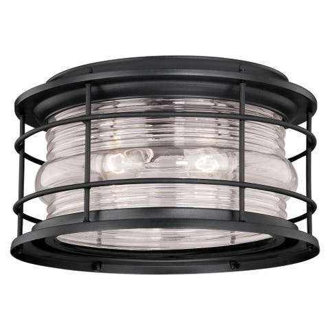 Hyannis Black Coastal Round Outdoor Flush Mount Ceiling Light Clear Glass - 12.63-in W x 7.5-in H x 12.63-in D