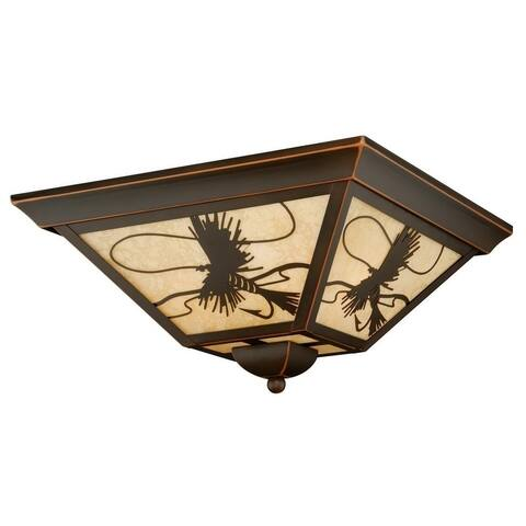 Mayfly Bronze Rustic Fly Fishing Square Outdoor Flush Mount Ceiling Light - 14-in W x 7-in H x 14-in D
