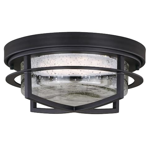 Logan LED Outdoor Flush Mount Ceiling Light Clear Glass - 13-in. W x 6-in. H x 13-in. D