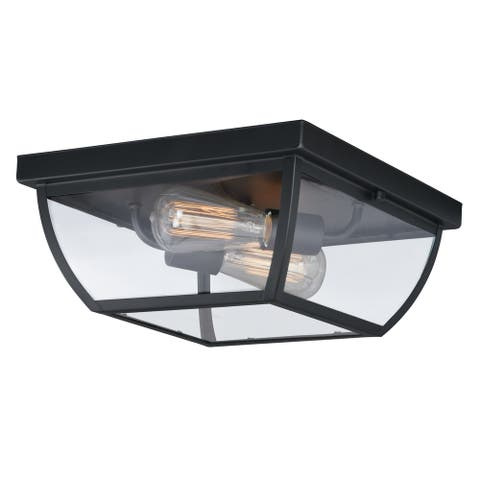Granville Bronze Geometric Outdoor Flush Mount Ceiling Light Clear Glass - 12.5-in W x 5.75-in H x 12.5-in D