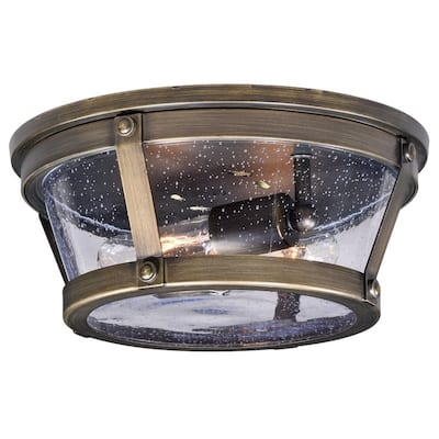 Bruges Bronze Round Outdoor Flush Mount Ceiling Light Clear Glass - 12-in W x 5-in H x 12-in D