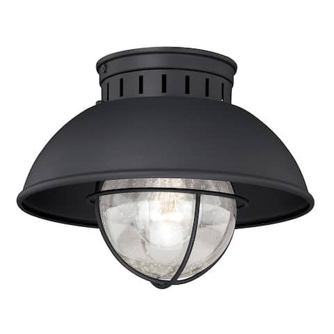 Harwich Black Coastal Barn Dome Outdoor Flush Mount Ceiling Light Clear Glass - 10-in W x 7.75-in H x 10-in D